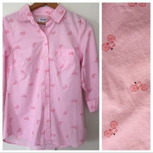 """""""Pink Bike"""" Button Down Blouse Shirt Top Bicycle S"""